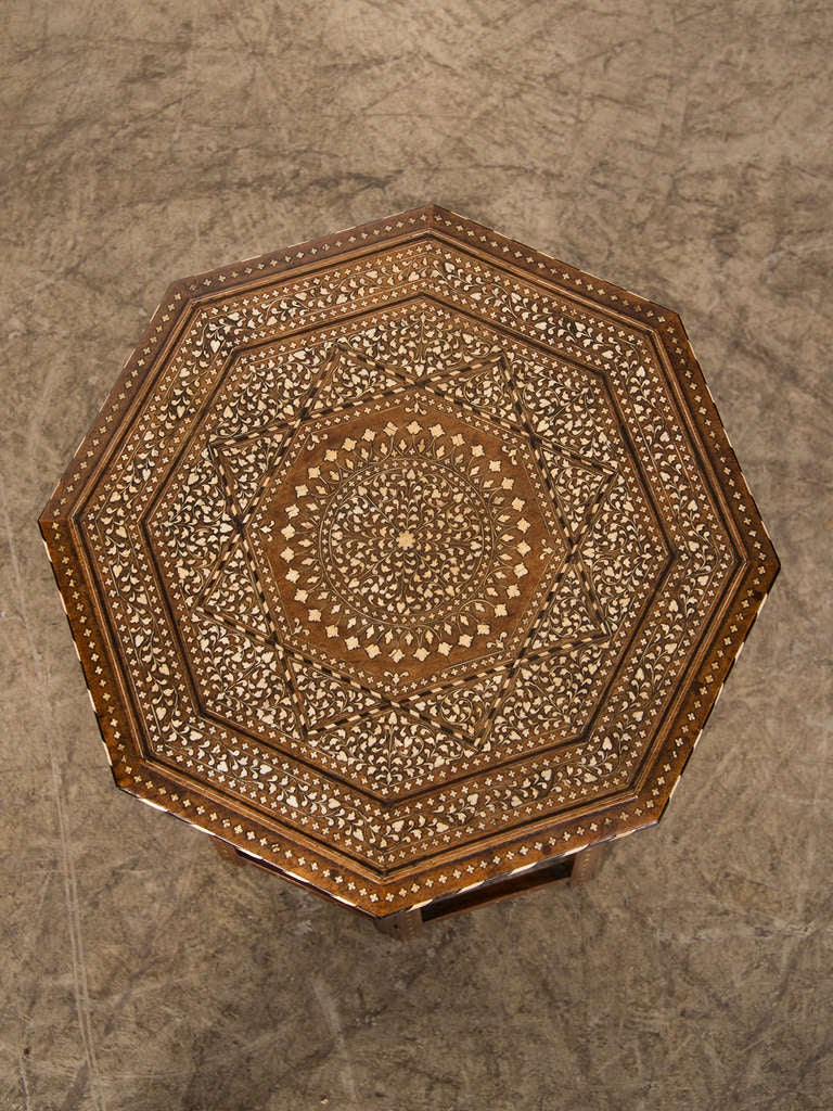 Syrian Octagonal Table Inlaid With Bone From Damascus C