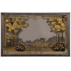 An enormous Art Moderne period mirror with the original reverse painting, France