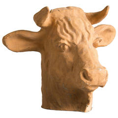 Vintage French Papier-Mâché Head of a Bull, circa 1920