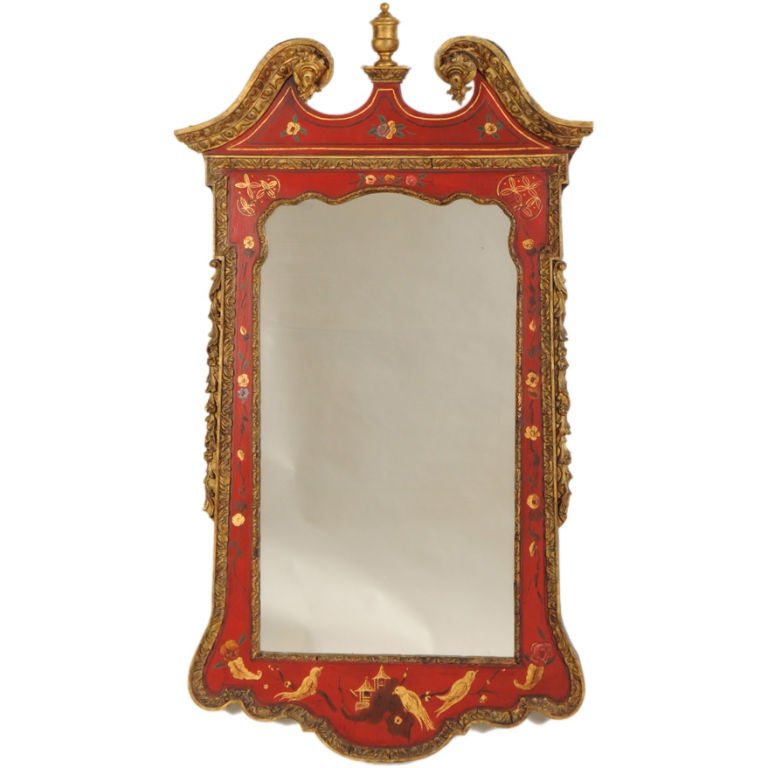 George II Style Chinoiserie Scarlet Lacquer Mirror, England c. 1860 For Sale