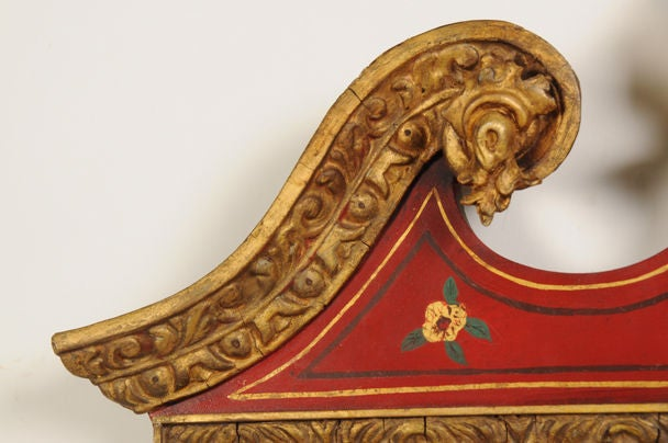 English George II Style Chinoiserie Scarlet Lacquer Mirror, England c. 1860 For Sale