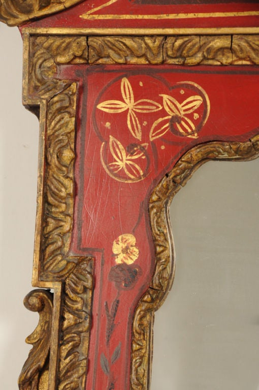 George II Style Chinoiserie Scarlet Lacquer Mirror, England c. 1860 In Excellent Condition For Sale In Houston, TX