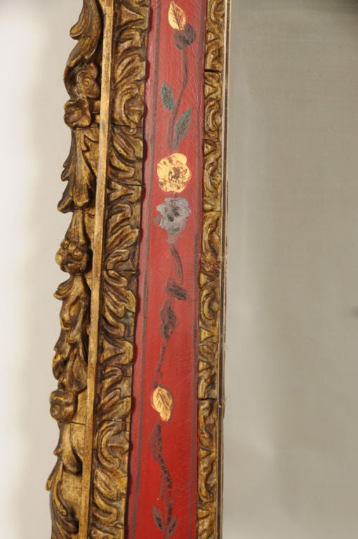 19th Century George II Style Chinoiserie Scarlet Lacquer Mirror, England c. 1860 For Sale