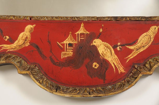 George II Style Chinoiserie Scarlet Lacquer Mirror, England c. 1860 For Sale 2