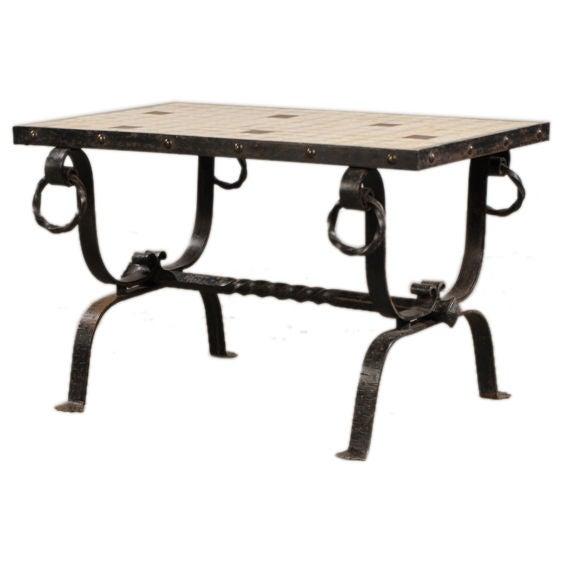 art deco period furniture. vintage french art deco period iron base and tiletop coffee table circa 1930 furniture