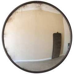 "Enormous Industrial Iron Frame Convex Mirror, France circa 1940 (48 1/2""dia.)"