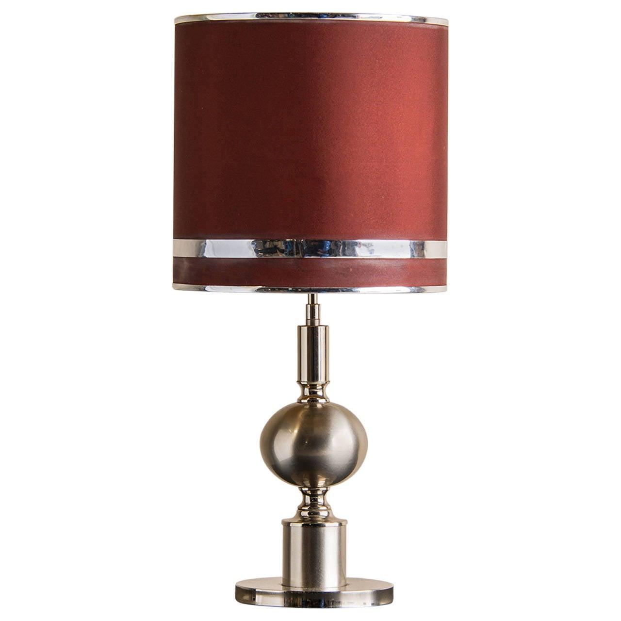 Vintage Chrome Lamp Original Custom Shade France Circa