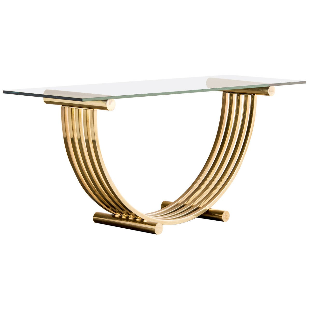 Romeo Rega Midcentury Modern Brass Glass Top Console Table