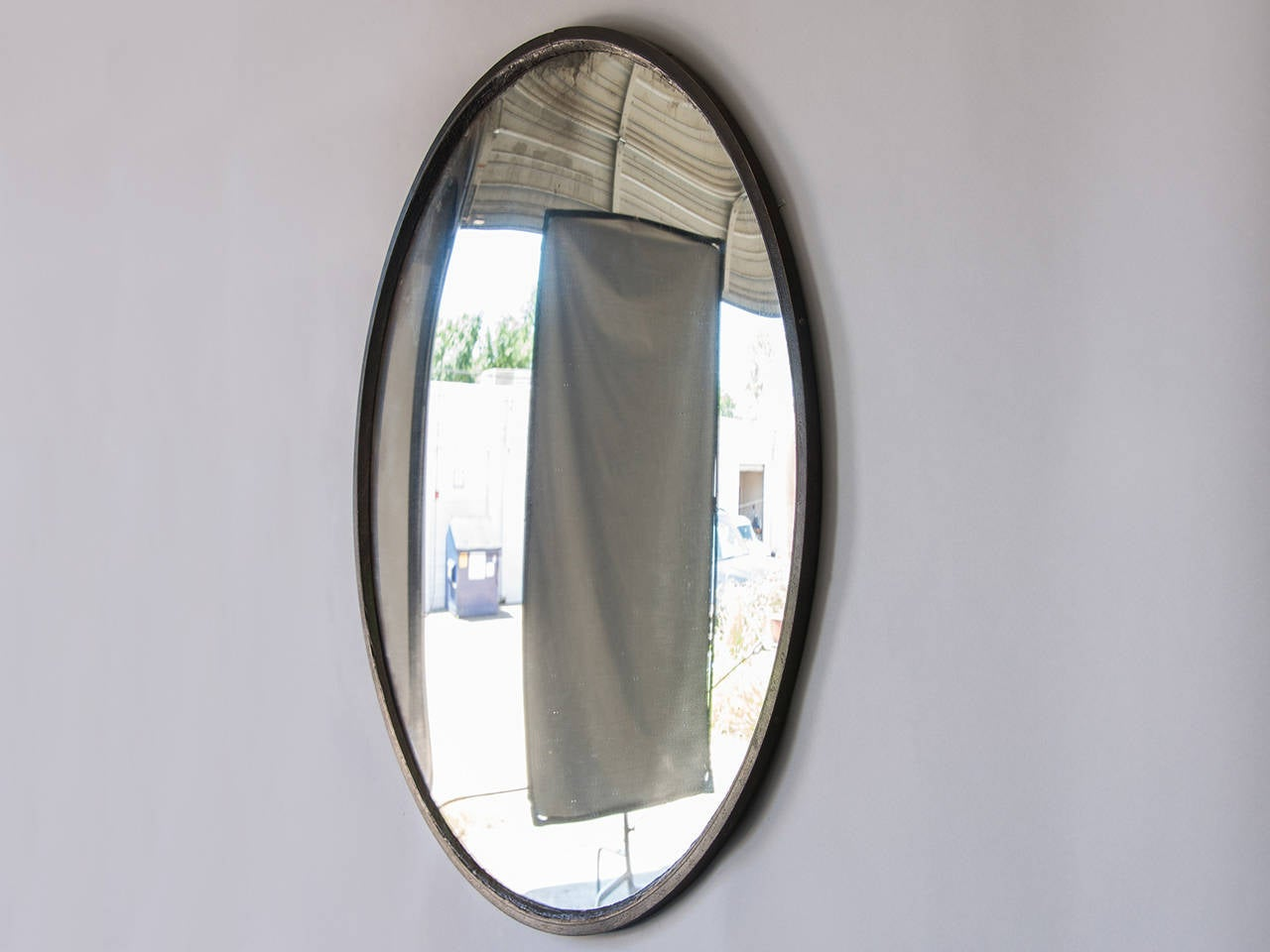 Enormous industrial iron frame convex mirror france circa for Convex mirror