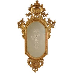 Antique Italian Neoclassical Gold Leaf Venetian Mirror, circa 1790