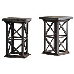 Art Deco Industrial Iron Frame Pedestal Column, Holland, circa 1930