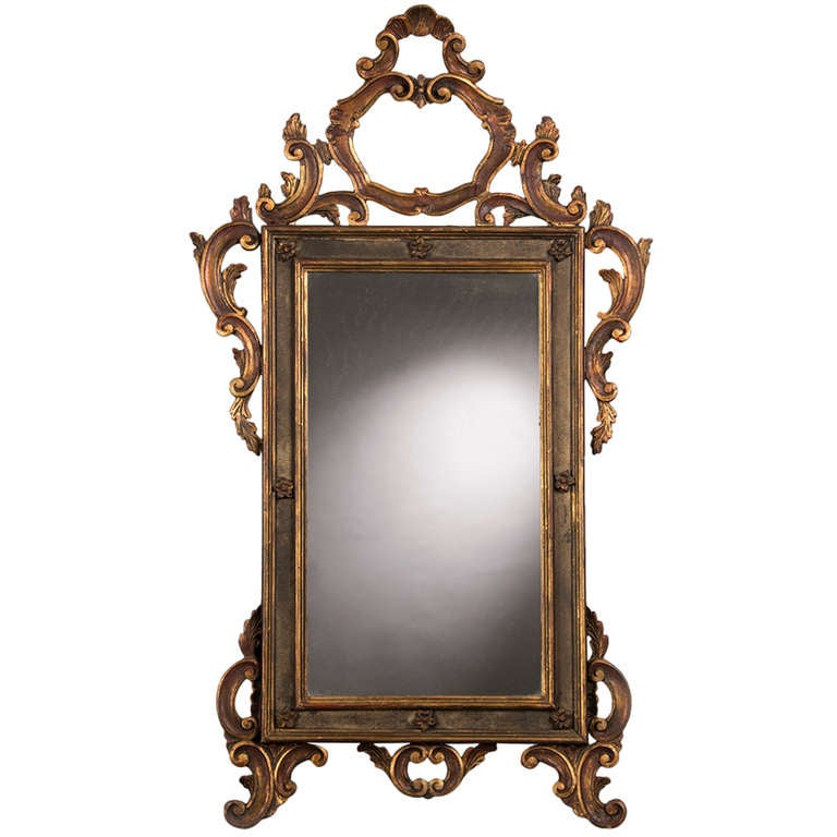 """Antique Italian Baroque Style Gilded and Painted Mirror, circa 1850 (31""""w x 51""""h"""