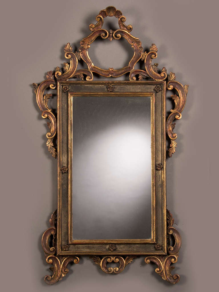 Antique italian baroque style gilded and painted mirror for Old style mirror