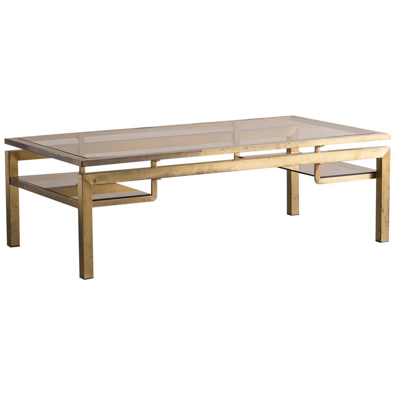 Vintage Brass Coffee Table With Smoked Glass Top France Circa 1970 At 1stdibs