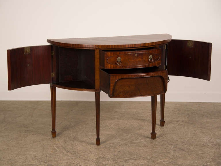 Sheraton style mahogany demi lune console sideboard for What is sheraton style furniture