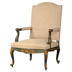Antique French Régence Louis XV Style Painted and Gilded Armchair, circa 1875