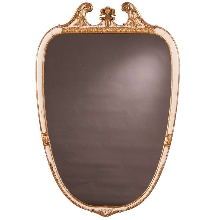 Vintage Italian Neoclassical Style Painted Mirror, circa 1940 For Sale