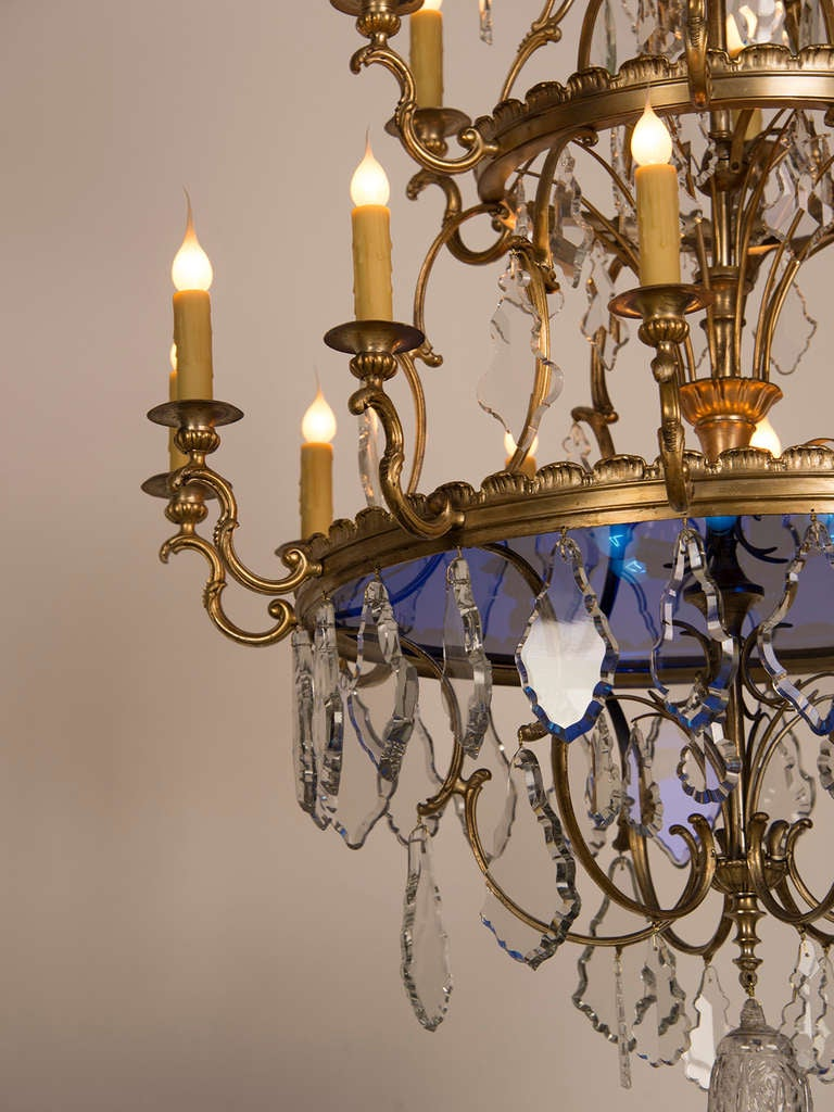 Two Tier Bronze Dore Crystal Chandelier With A Blue Glass