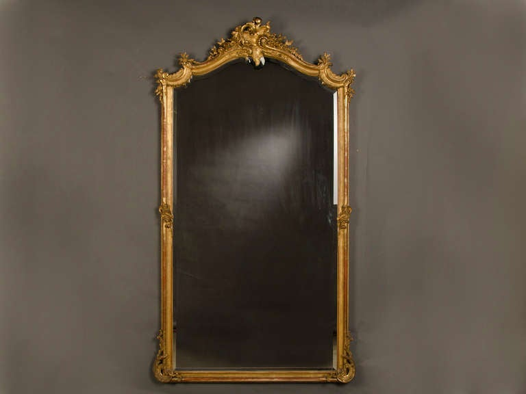Louis xv gold leaf frame enclosing the original mirror for Gold frame floor mirror