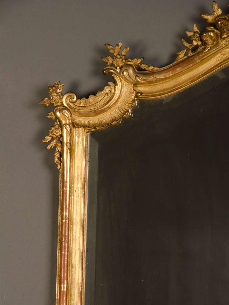 Louis Xv Gold Leaf Frame Enclosing The Original Mirror
