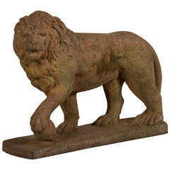 Antique English Lion Garden Stone Sculpture, Southampton, circa 1900