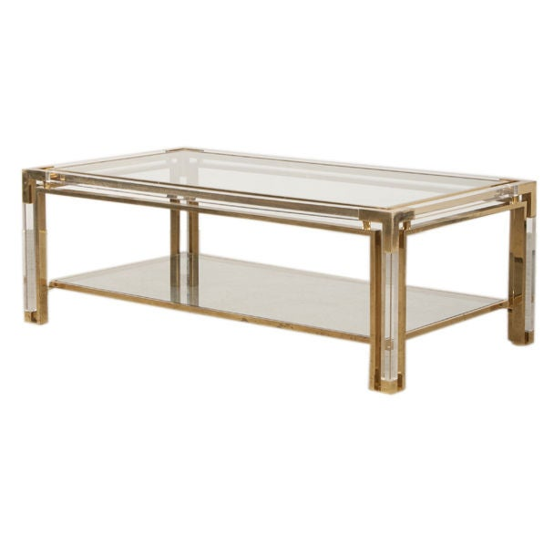 Fabulous vintage lucite and brass coffee table from italy for Lucite and brass coffee table