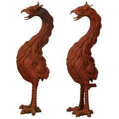 Pair of Large Antique French Cast Iron Painted Birds circa 1885