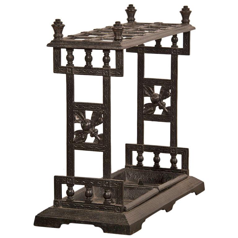 Antique English Cast Iron Umbrella or Cane Stand, circa 1850