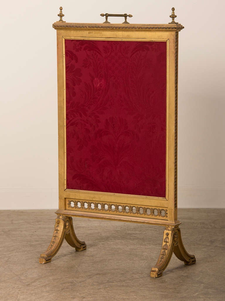 louis xvi style gold leaf wooden fire screen with original mirror france at 1stdibs. Black Bedroom Furniture Sets. Home Design Ideas