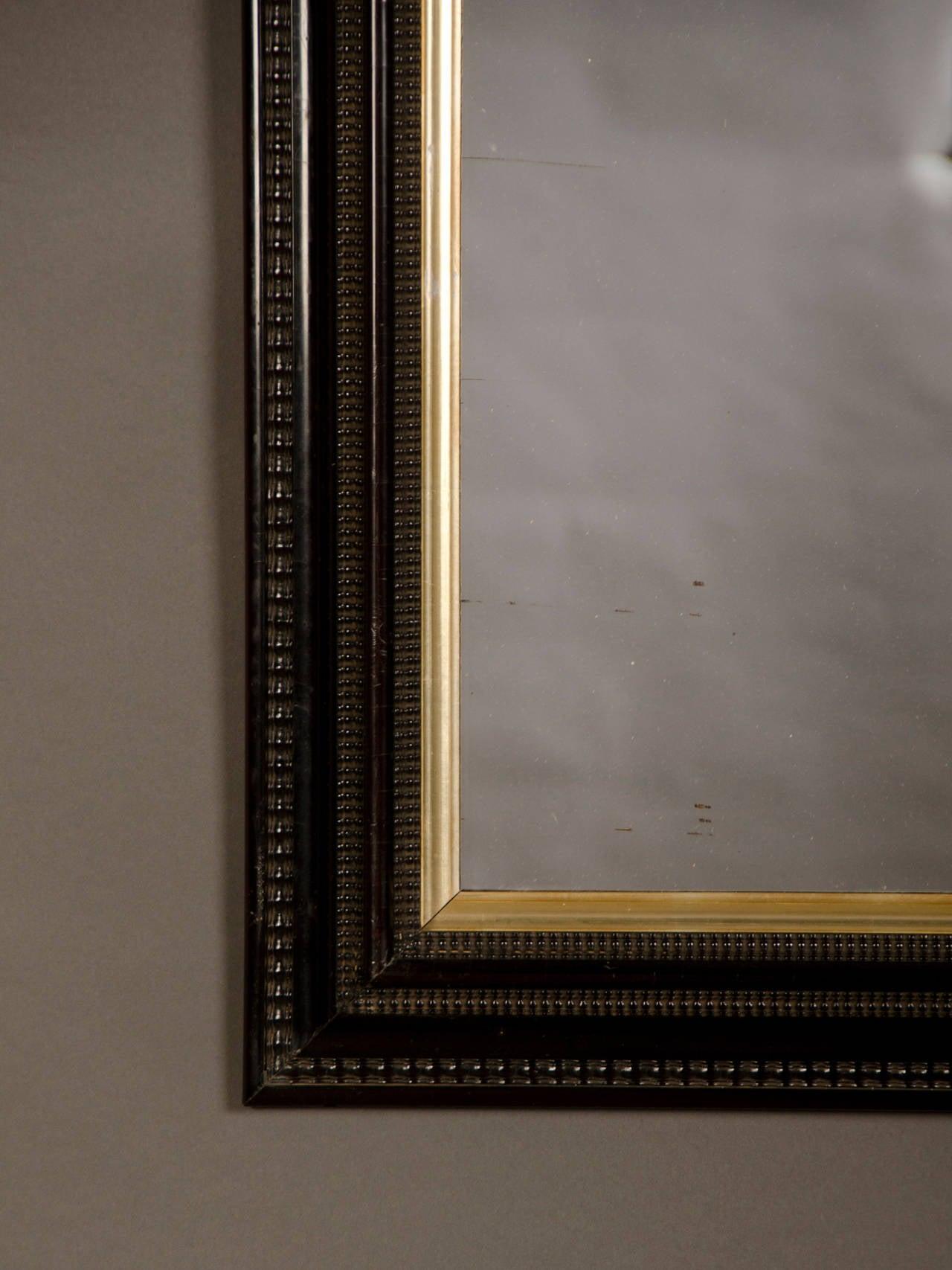 Rectangular Antique Dutch Black Frame Mirror Circa 1875
