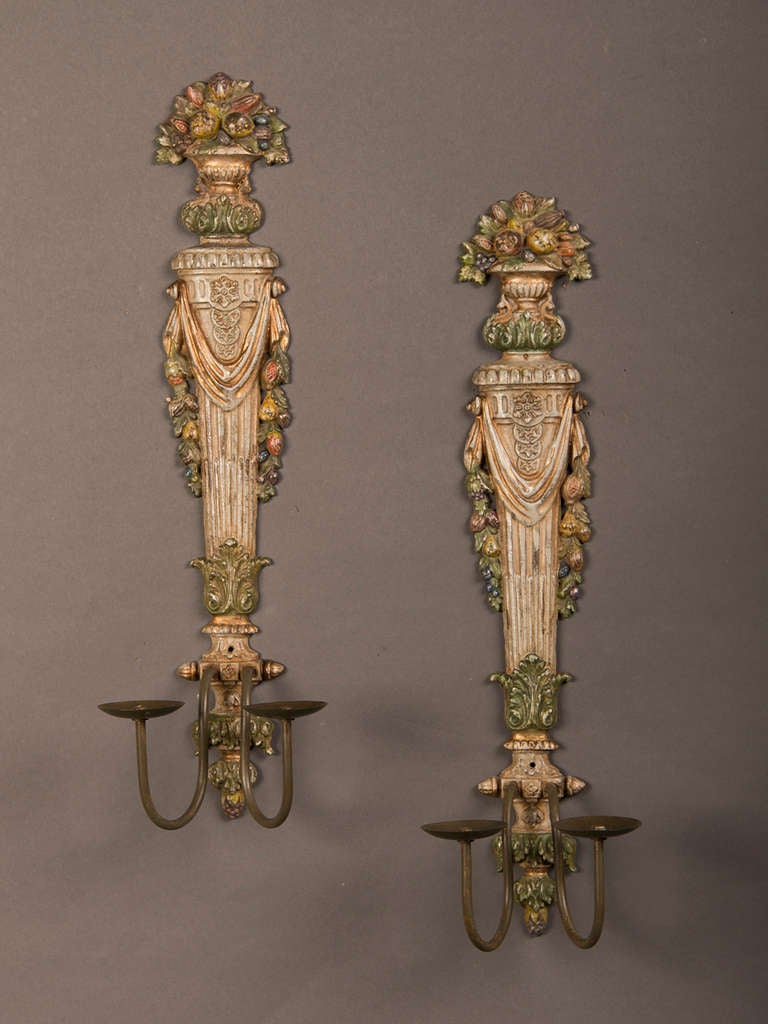 Painting Brass Wall Sconces : Pair Of Painted Cast Brass Two Arm Sconces From France C.1940 at 1stdibs