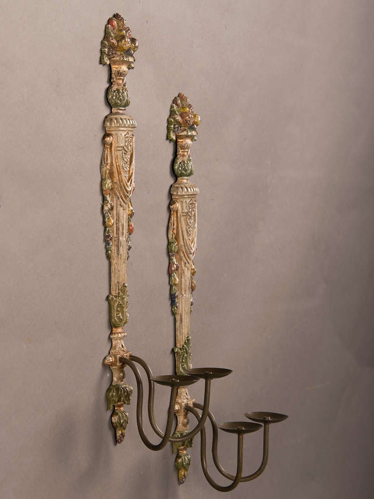 Pair Of Painted Cast Brass Two Arm Sconces From France C.1940 at 1stdibs