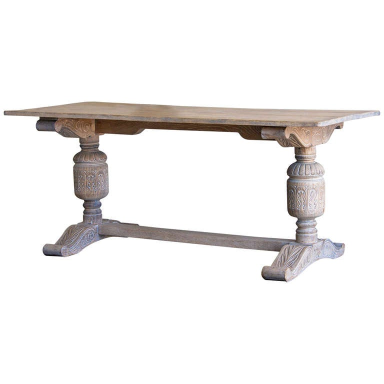 Antique English Jacobean Style Oak Table, Limed Finish, circa 1875