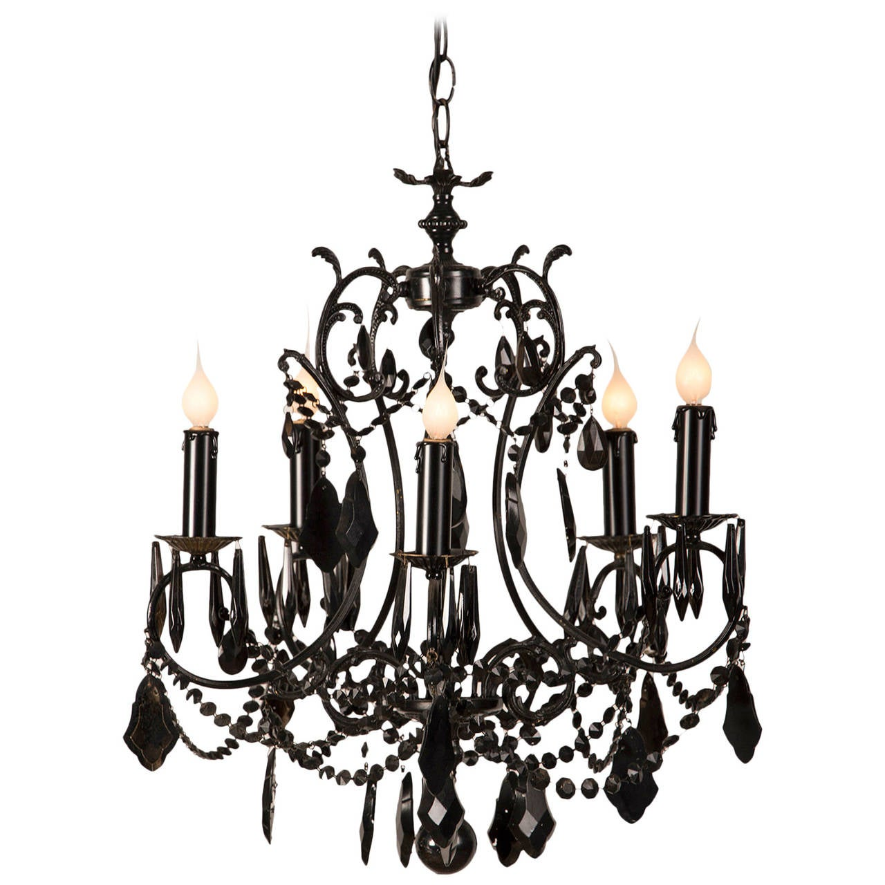 Black Five Arm Crystal Chandelier France Circa 1940 At