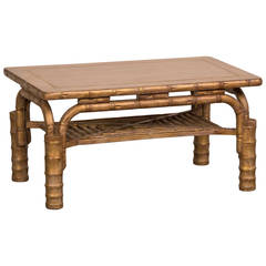 Striking Vintage French Gilded Coffee Table Standing on Bamboo Legs, circa 1910