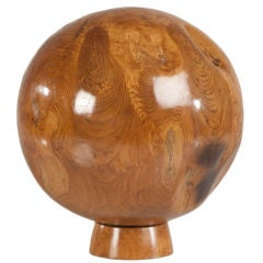 Enormous Vintage Chinese Polished Wood Sphere Sculpture on a Stand