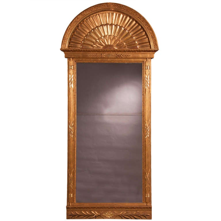 Empire period tall gold leaf mirror sweden at 1stdibs for Tall gold mirror