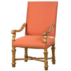 Antique French Louis XIV Style Giltwood Armchair from France circa 1875