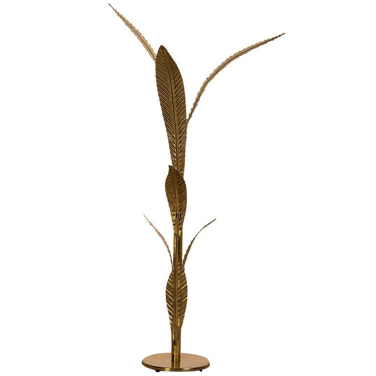 tall brass palm tree floor lamp france italy circa 1965 at 1stdibs. Black Bedroom Furniture Sets. Home Design Ideas
