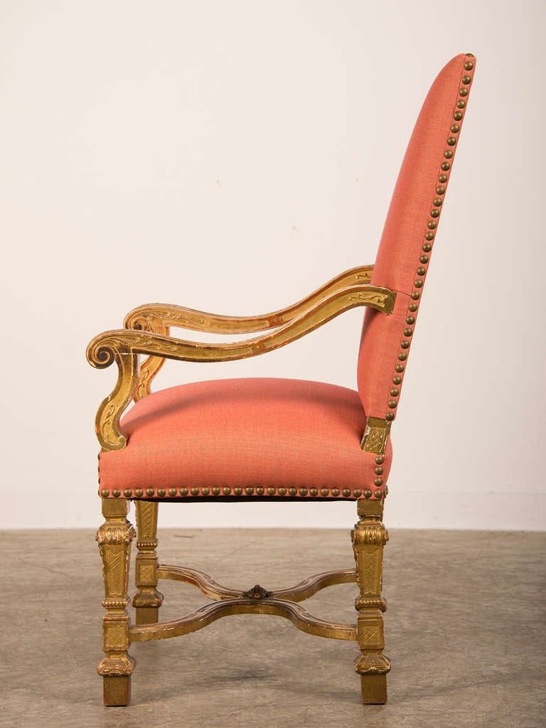 Antique louis xiv chair - Antique French Louis Xiv Style Giltwood Armchair Circa 1875 2