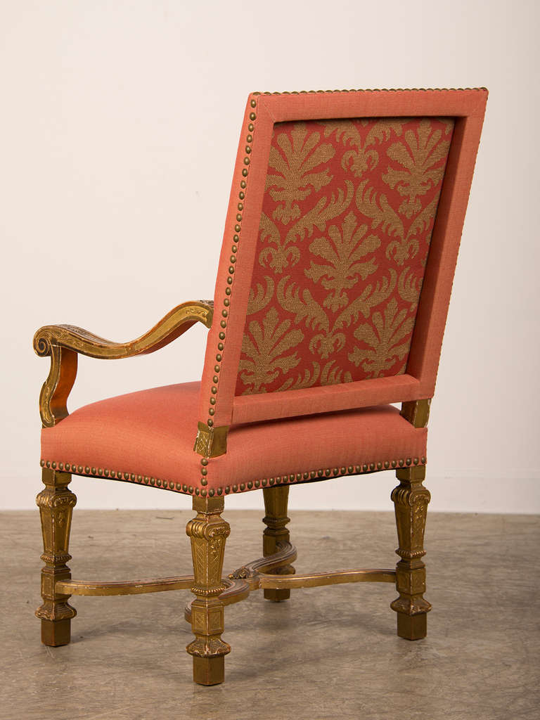 Antique louis xiv chair - Antique French Louis Xiv Style Giltwood Armchair Circa 1875 3
