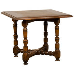 Antique French Louis XIII Style Walnut Square Table, circa 1830