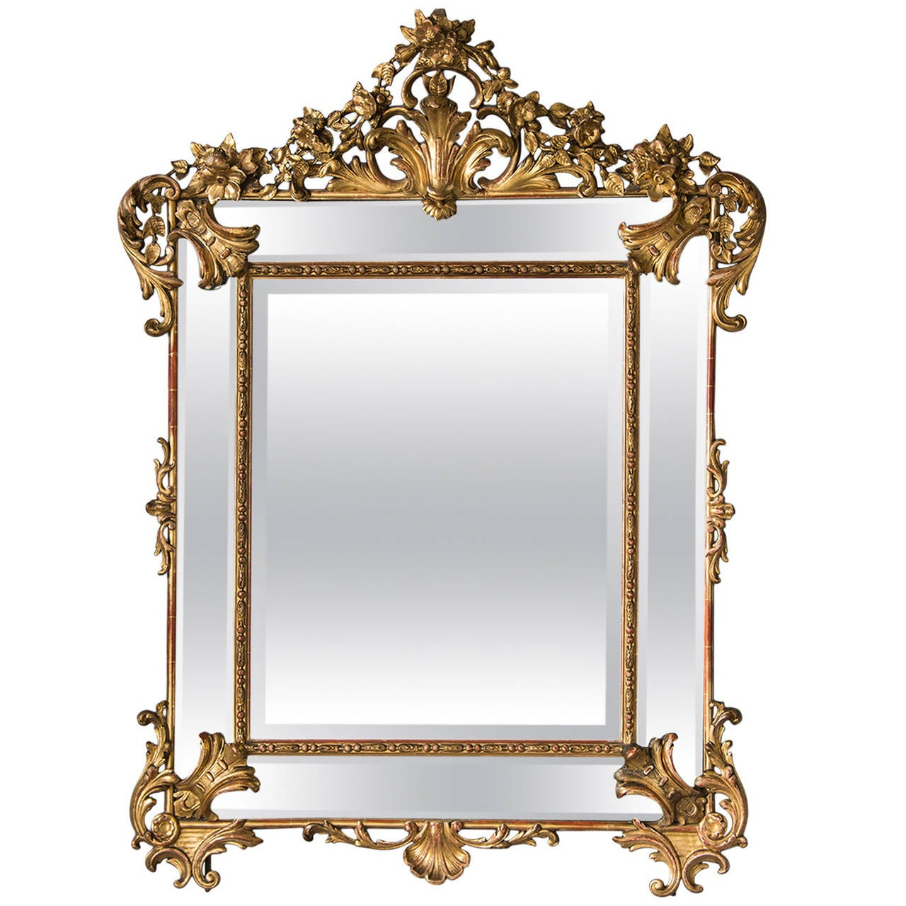 Bold Antique French Régence Style Pareclose Gold Leaf Mirror, circa 1890