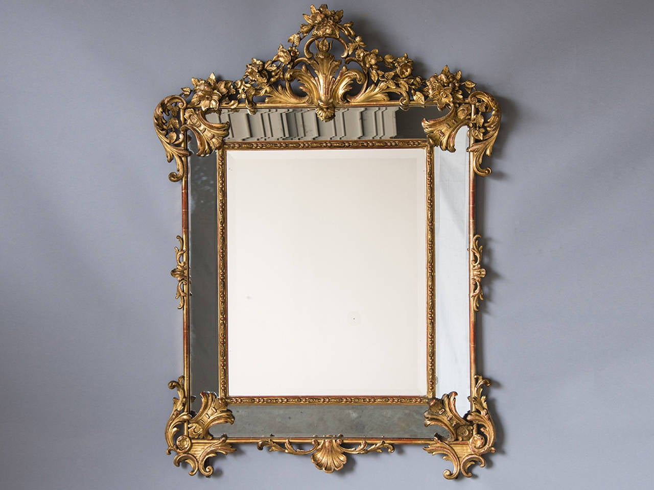 Bold Antique French Régence Style Pareclose Gold Leaf Mirror, circa 1890 3