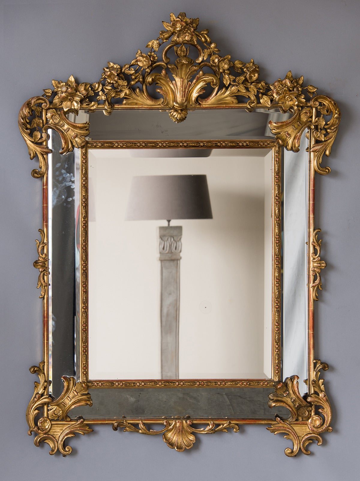 Bold Antique French Régence Style Pareclose Gold Leaf Mirror, circa 1890 2