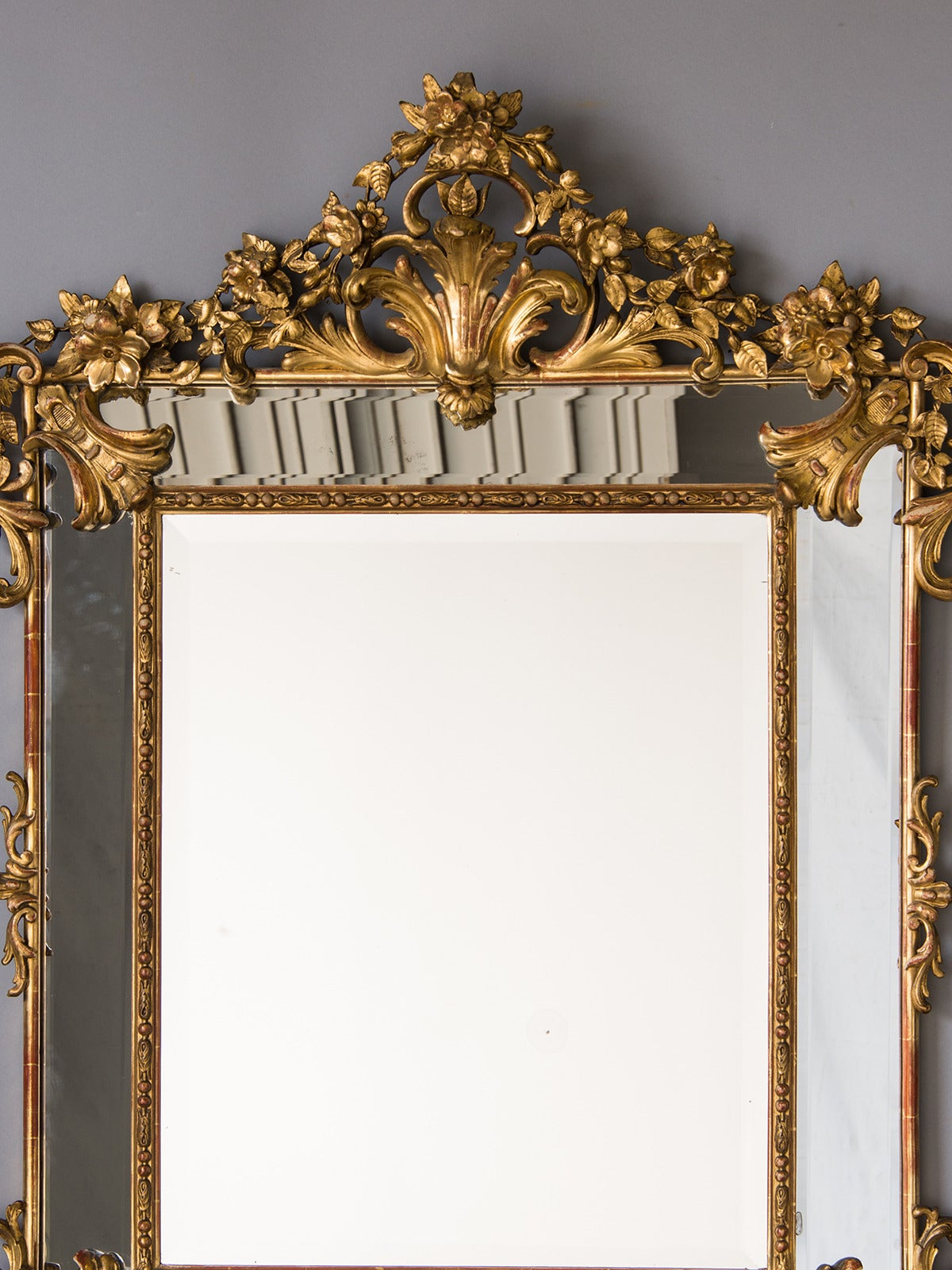 Bold Antique French Régence Style Pareclose Gold Leaf Mirror, circa 1890 4