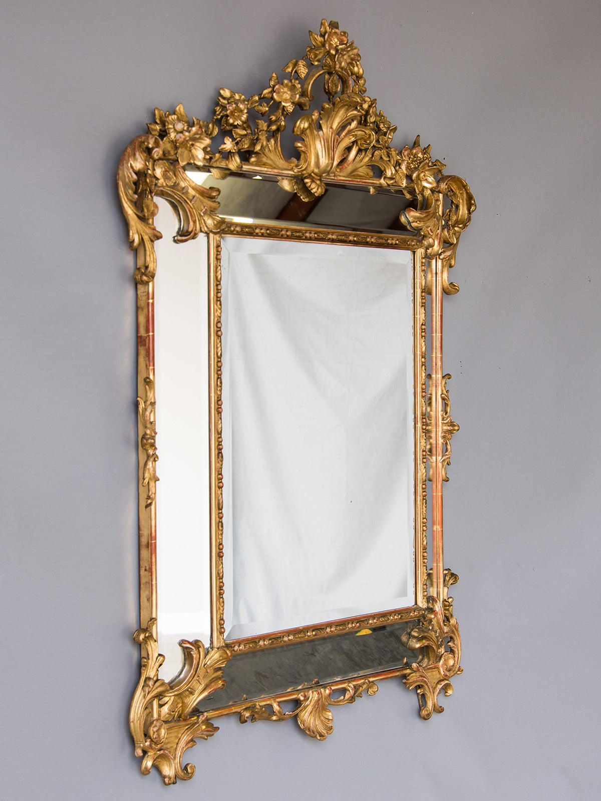 Bold Antique French Régence Style Pareclose Gold Leaf Mirror, circa 1890 5