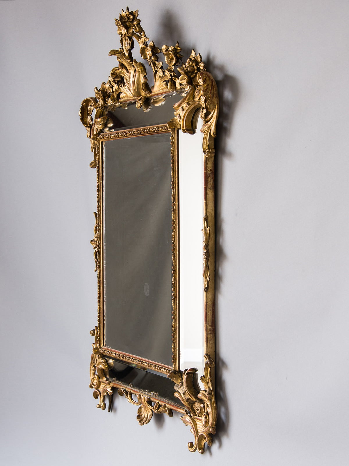 Bold Antique French Régence Style Pareclose Gold Leaf Mirror, circa 1890 6
