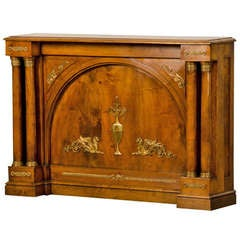 Antique French Empire Period Walnut Console With Gilded Bronze Mounts circa 1810