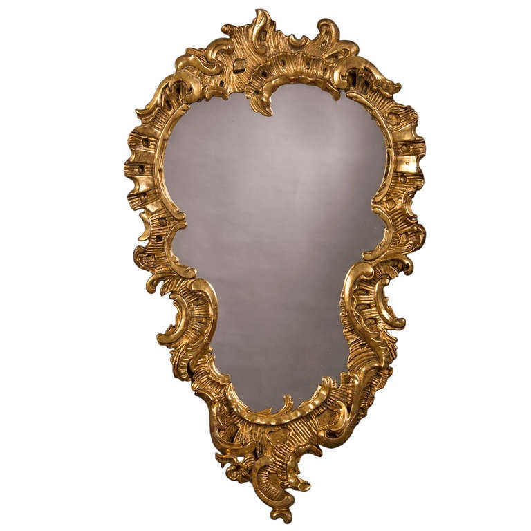 "Antique French Louis XV Period Carved and Gilded Mirror circa 1760 (28""w x 47""h)"